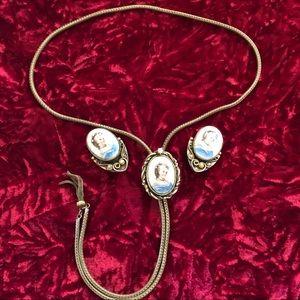 Antique Limoges Porcelain Cameo Necklace Set